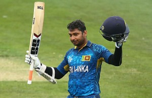 Kumar Sangakkara of Sri Lanka celebrates his century
