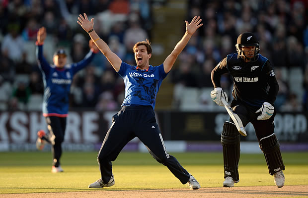 Steven Finn of England successfully appeals for the wicket of Ross Taylor